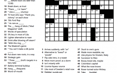 'It's A Toss Up' – Crossword