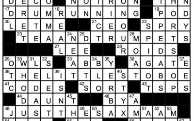 """""""Instru-mentally Unsound""""   Crossword Solution"""
